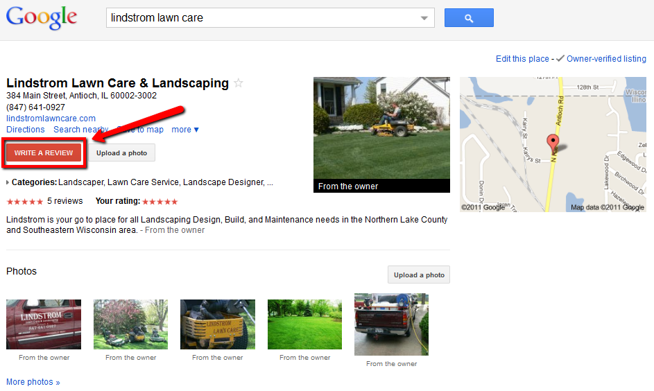 Lindstrom Lawn Care Google Review